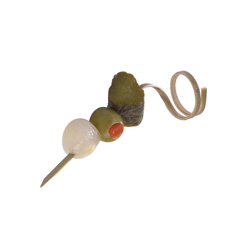 Bamboo Top Twisted Skewer - 3.5 in