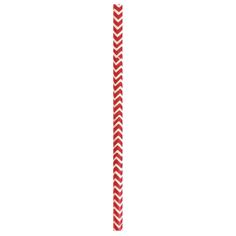 Durable Red & White Chevron Design Paper Straws - 7.75  Inches
