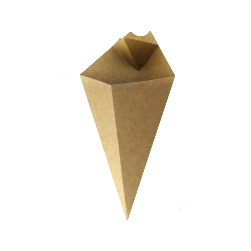 Kraft Paper ConeWith Built-In Sauce Cup - 8.9 in.
