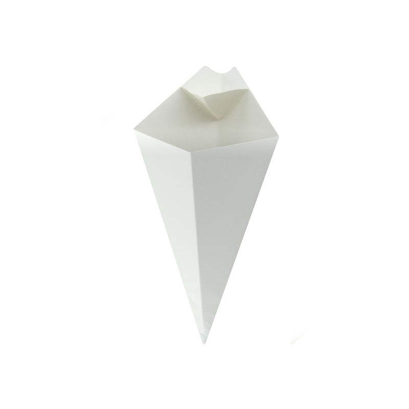 White Paper ConeWith Built-In Sauce Cup - 8.9 in.