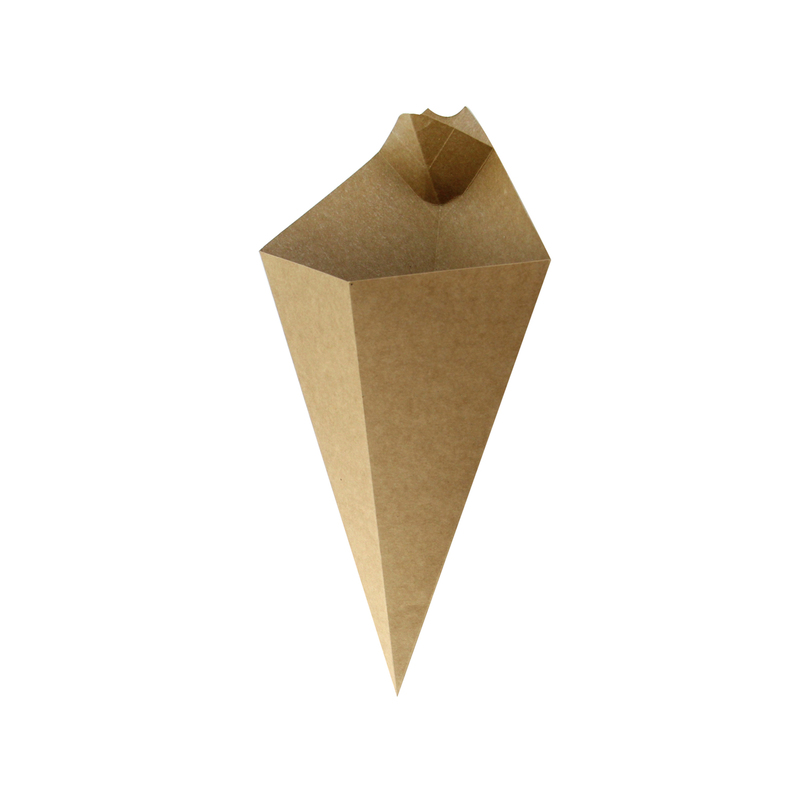 Kraft Paper ConeWith Built-In Sauce Cup - 11 in.