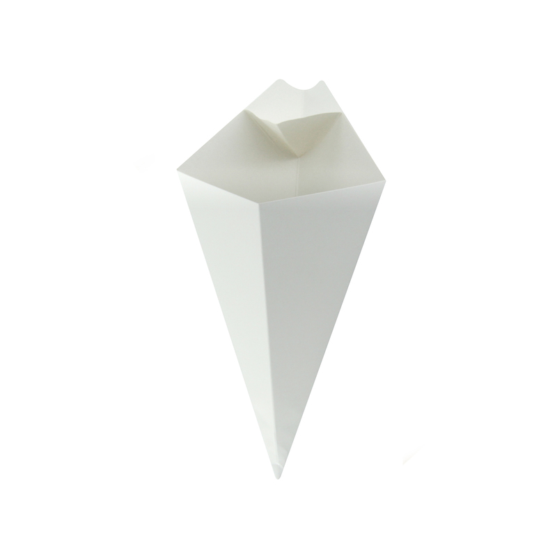 White Paper ConeWith Built-In Sauce Cup - 11 in.