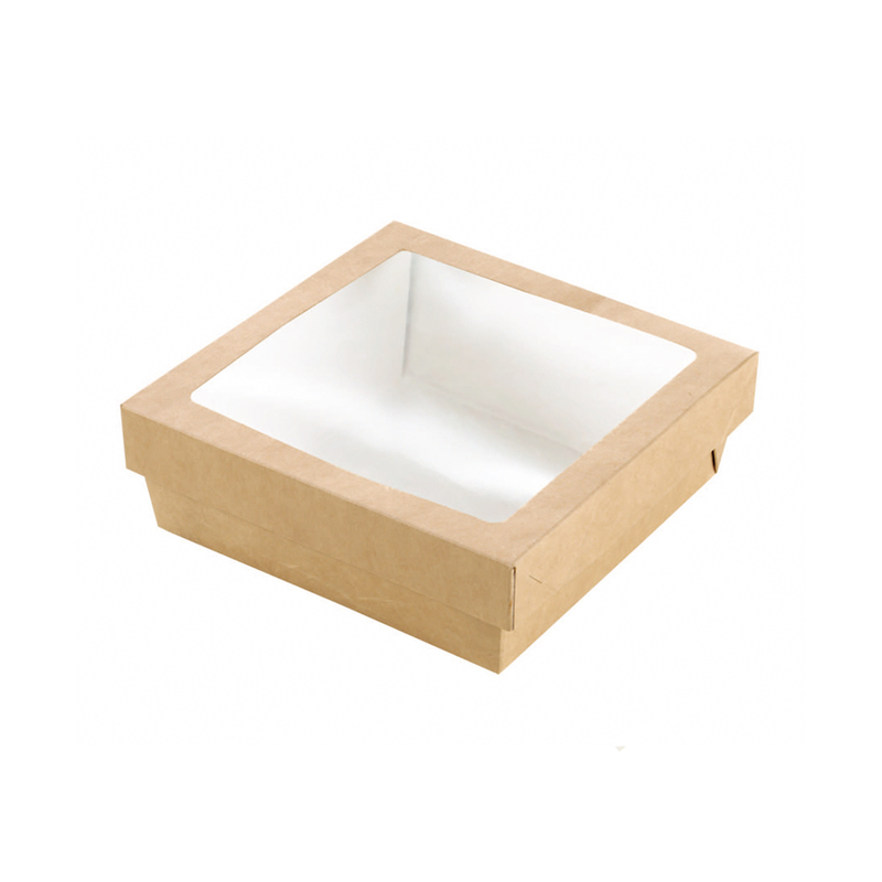 Kraft Kray Boxes With Pet Window Lid -34oz  L:5.5 x W:5.45 x H:2in