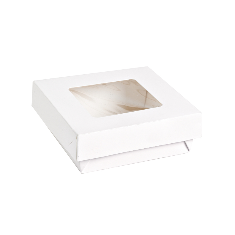 White Kray Boxes With Pet Window Lid -22oz  L:4.65 x W:4.7 x H:2in