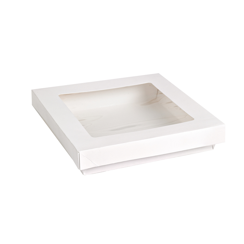 White Kray Boxes With Pet Window Lid -60oz  L:7.25 x W:7.25 x H:1.5in