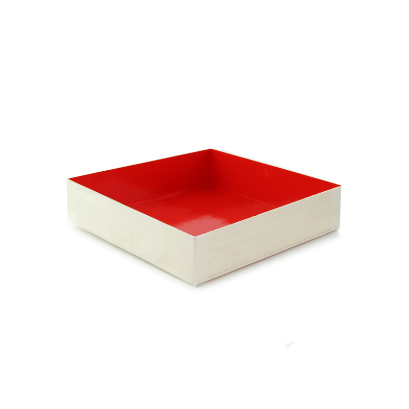 Wooden Folding Box With Red Shiny Interior -  L:6.25 x W:6.25 x H:1.45in