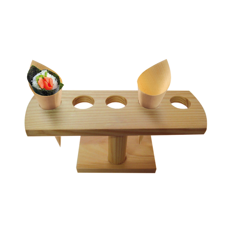 5 Holes Bamboo Cone And Temaki Display -  L:9.25 x H:3.55in