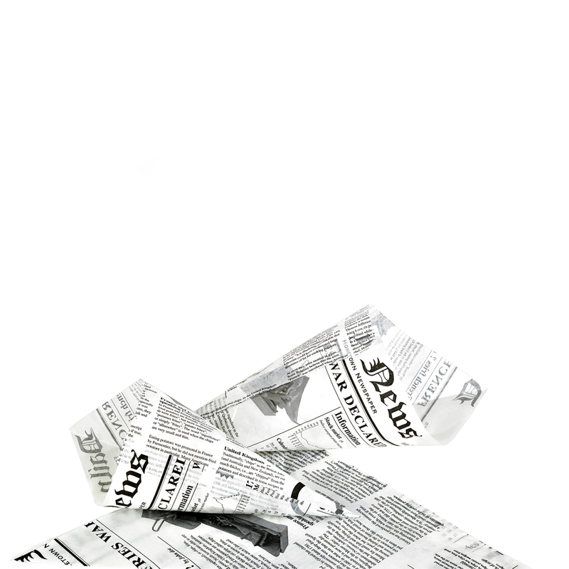 Greaseproof Paper Cones Newspaper Printed - 11.8 in.