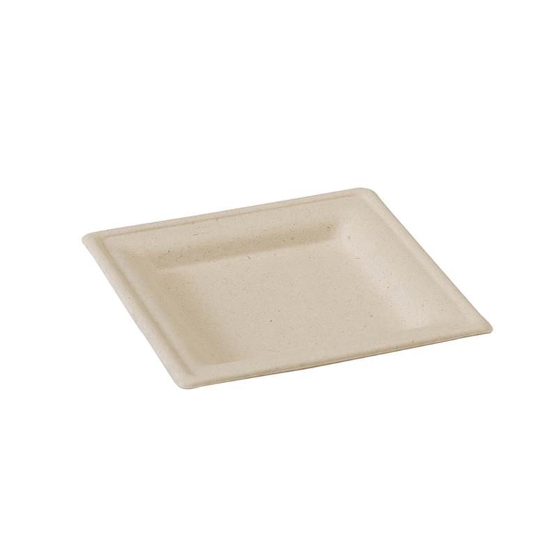 Square Brown Sugarcane Plate - 6.2 in.