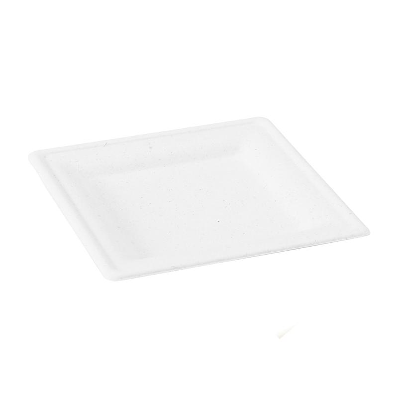 Square White Sugarcane Plate (210APU2020A) -  L:7.8 x W:7.8 x H:.6in