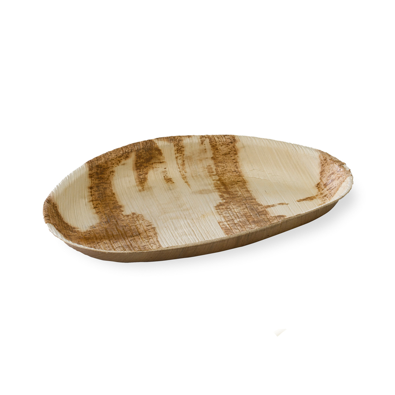PALMEGG MAIN - Palm Leaf Egg Shaped Plate - 10.2 x 6.3 in.