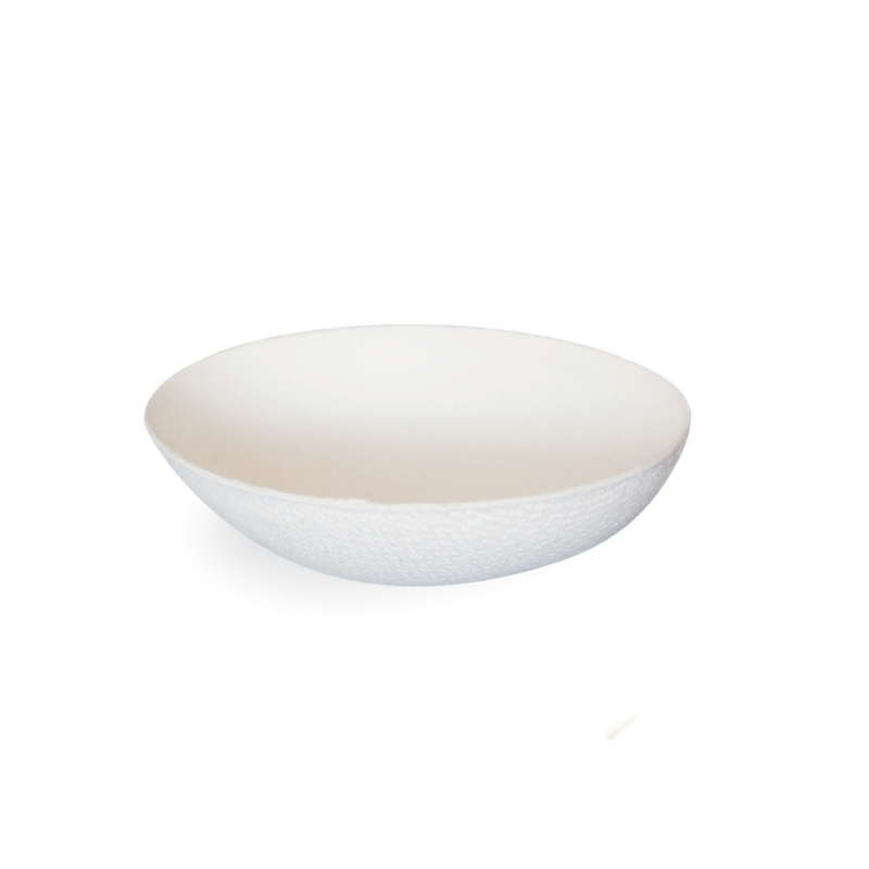 Bio N Chic Egg Shaped White Sugarcane Dish -1oz  L:3.1 x W:2.05 x H:.95in