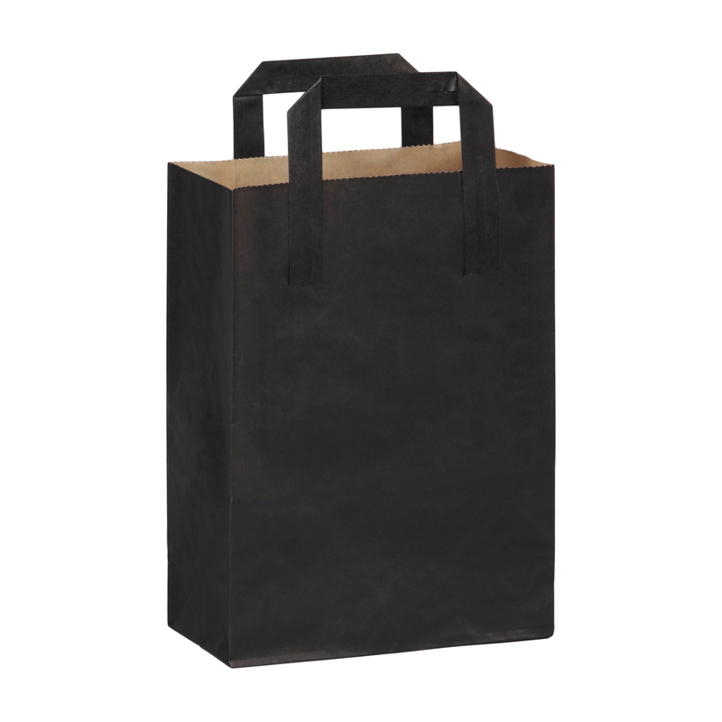 Black Mini Paper Bag With Handle -  L:7.8 x W:3.9 x H:10.85in