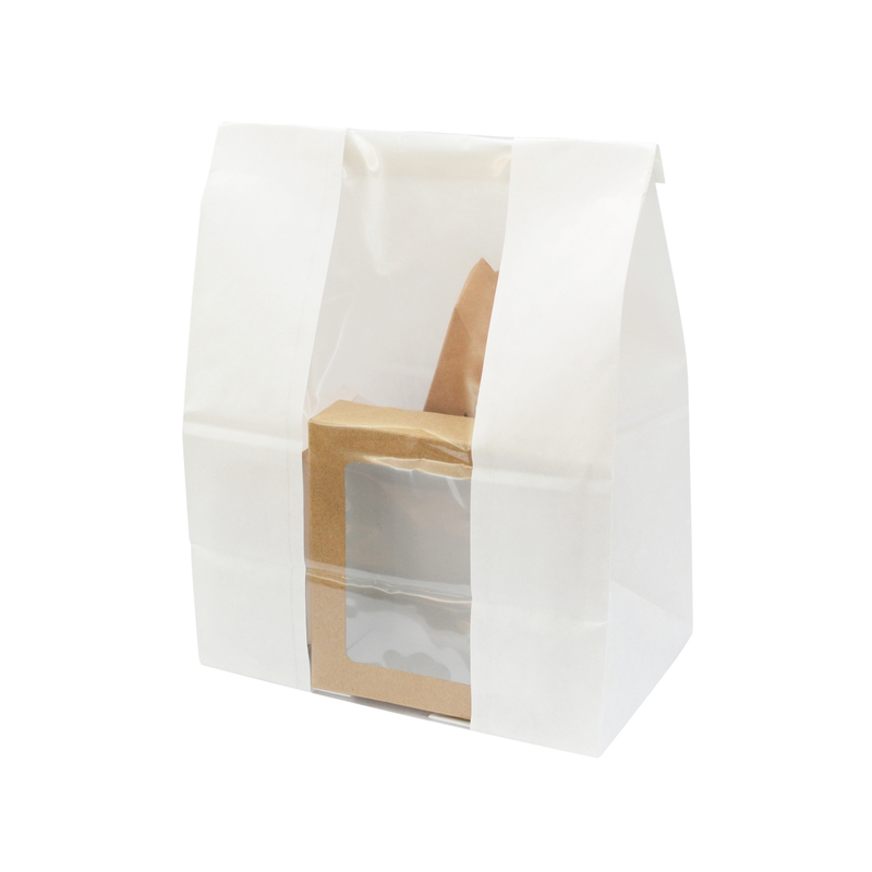 Long White Sos Bag With Window -  L:7.1 x W:4.3 x H:10.25in