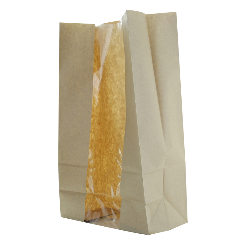 Long Brown Sos Bag With Window -  L:8.9 x W:4.6 x H:15.1in