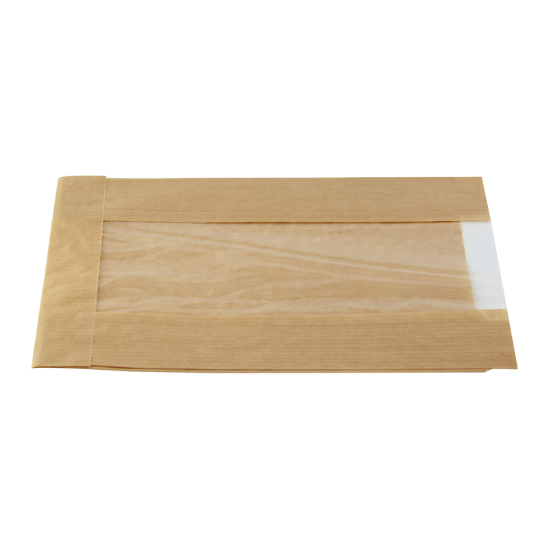 Brown Kraft Bag With Window -  L:8.65 x W:5.05 x H:2.25in