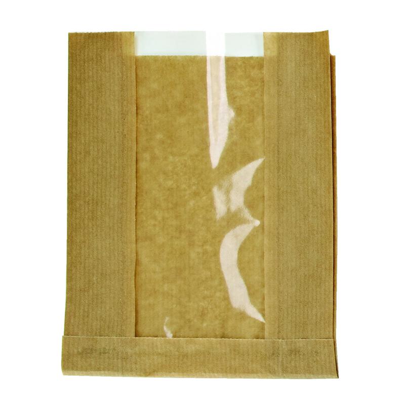 Brown Kraft Bag With Window -  L:11 x W:7.05 x H:3in