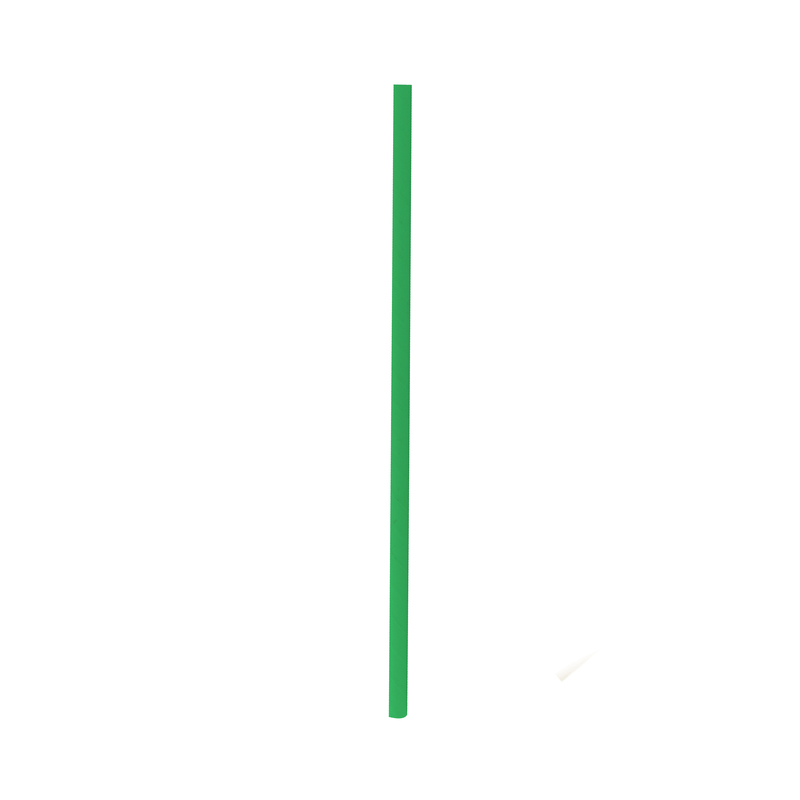 Durable Solid Green Paper Straws - Individually Wrapped - 7.75 Inches