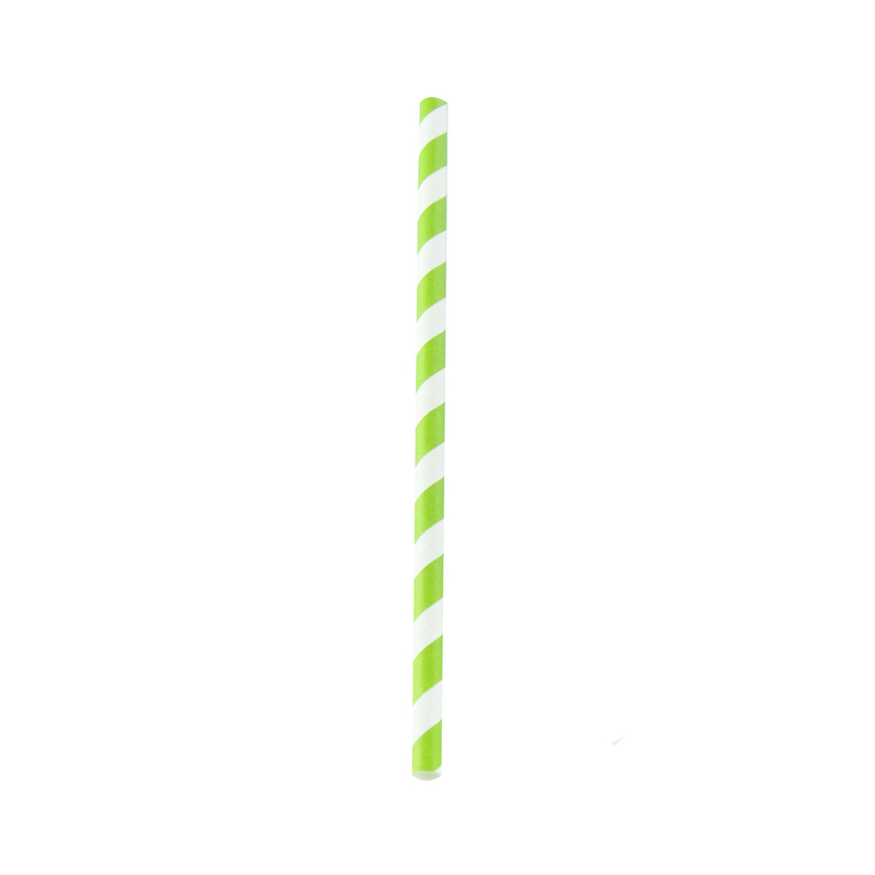 Durable Lime Green Striped Giant Smoothie Paper Straws - Ø: .3 in L: 7.75 in