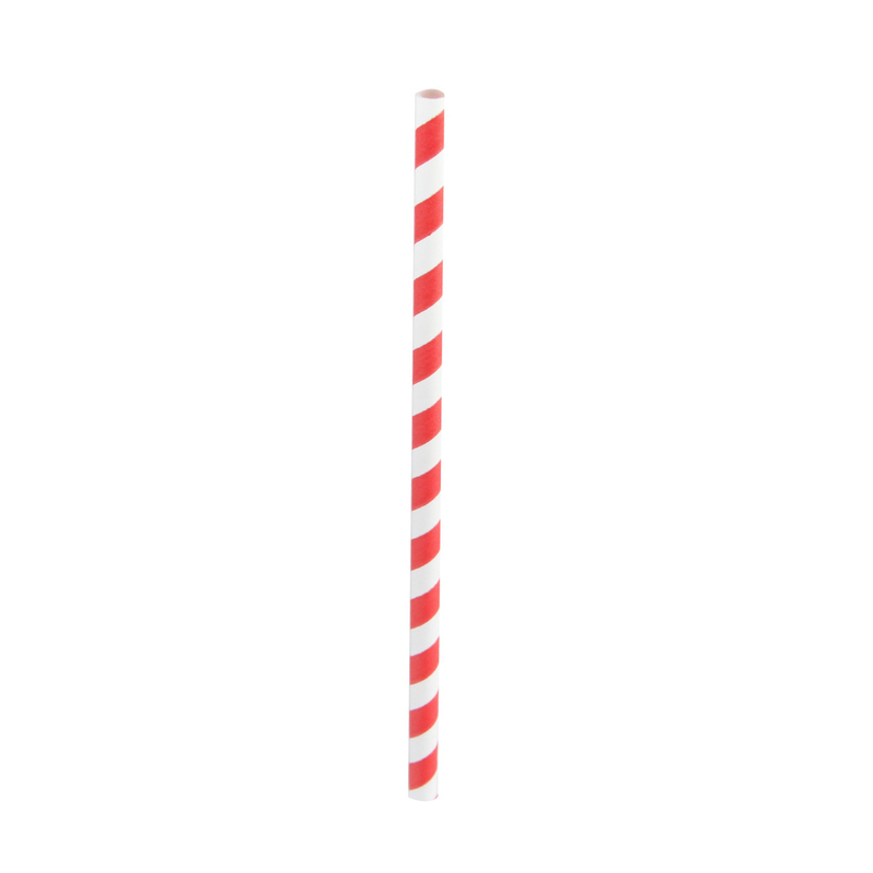 Durable Smoothie Paper Straws With White & Red Stripes - 7.75 Inches