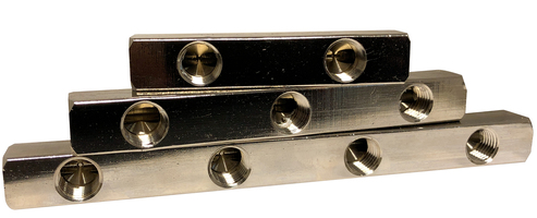 C/P BRASS MANIFOLDS-1/4 IN AND 1/4 OUT