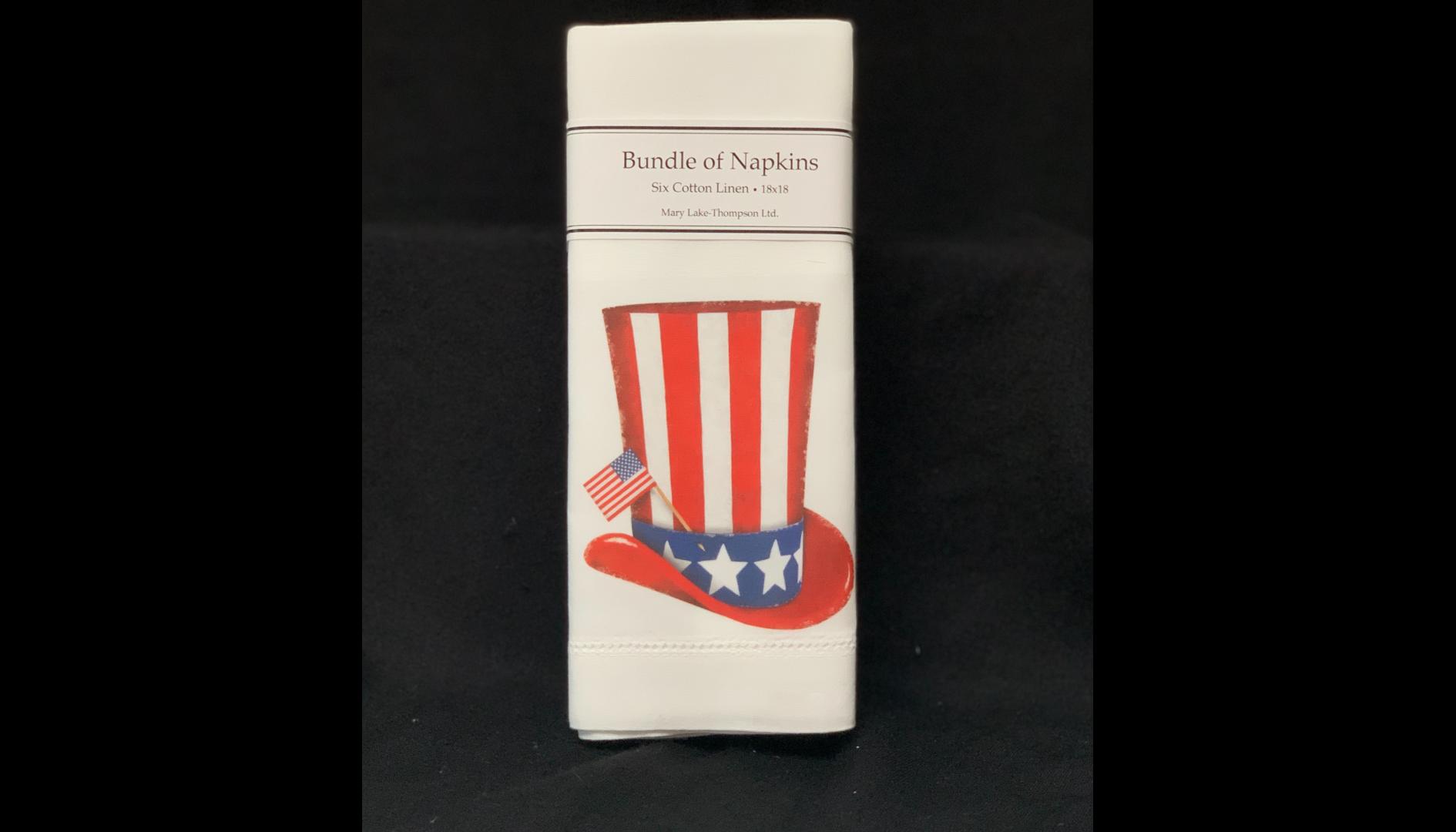 Mary Lake-Thompson Patriotic Cotton Linen Napkins, Set of 6