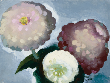 3 Zinnias. Georgia O'keeffe. Oil on canvas. 6 x 8. Georgia O'keeffe museum. Gift of the Georgia O'keeffe foundation. © Georgia O'keeffe museum