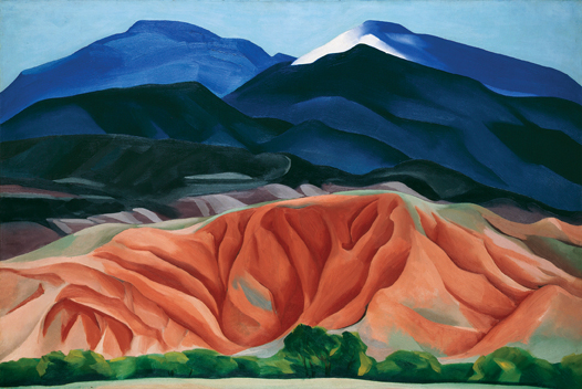 Black Mesa Landscape, New Mexico / Out Back of Marie's II. Georgia O'keeffe. Oil on canvas mounted to board. 24.25 x 36.25. Georgia O'keeffe museum. Gift of the Burnett Foundation. © Georgia O'keeffe museum