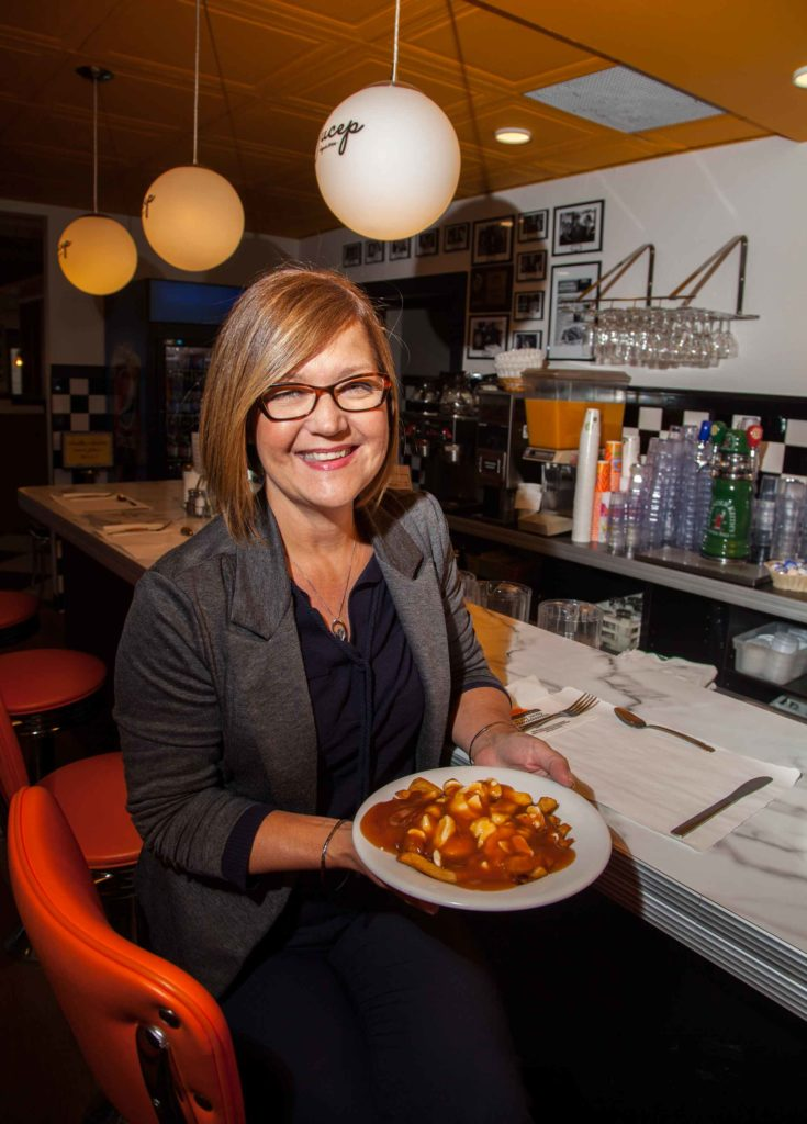 Renée Brousseau says that fully 35% of the 170,000 customers who came to Le Roy Jucep in 2015 ordered poutine.