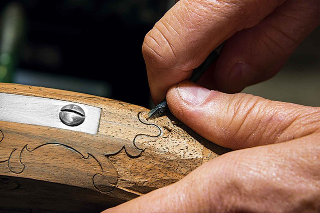 Delicate carving is one of Scott's specialties. He's made many of his own tools.