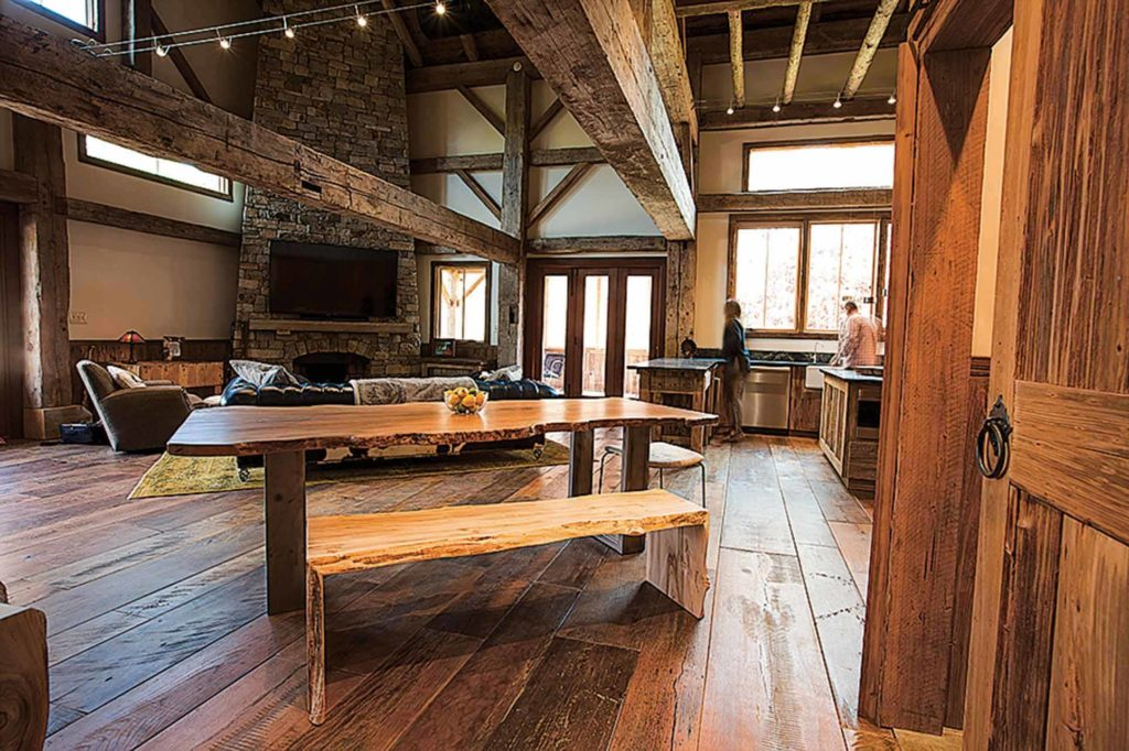 The Downeys' barn house has a rustic, homey feel.