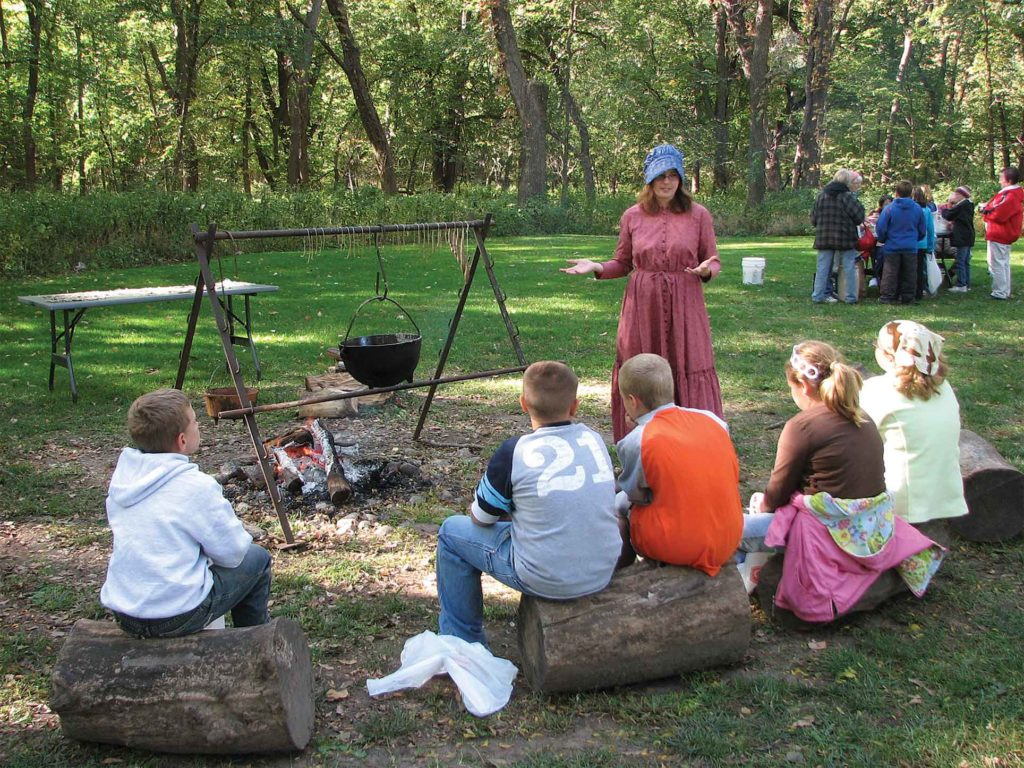 Interacting with visitors is a big part of a visit to the Homestead Monument, including living history presentations each summer during the site's annual Homestead Days.