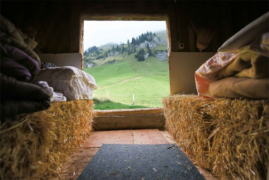 The Kneiwies farm is located on a hiking trail and can accommodate overnight stays in a vacation apartment in the farmhouse, but bedding down in the barn is a unique and economical option that will forge lasting memories.