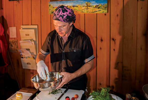 Chef Richard Jones works to expand customers' food expertise, often with more unusual items like kohlrabi, eggplant, or hakuri turnips.