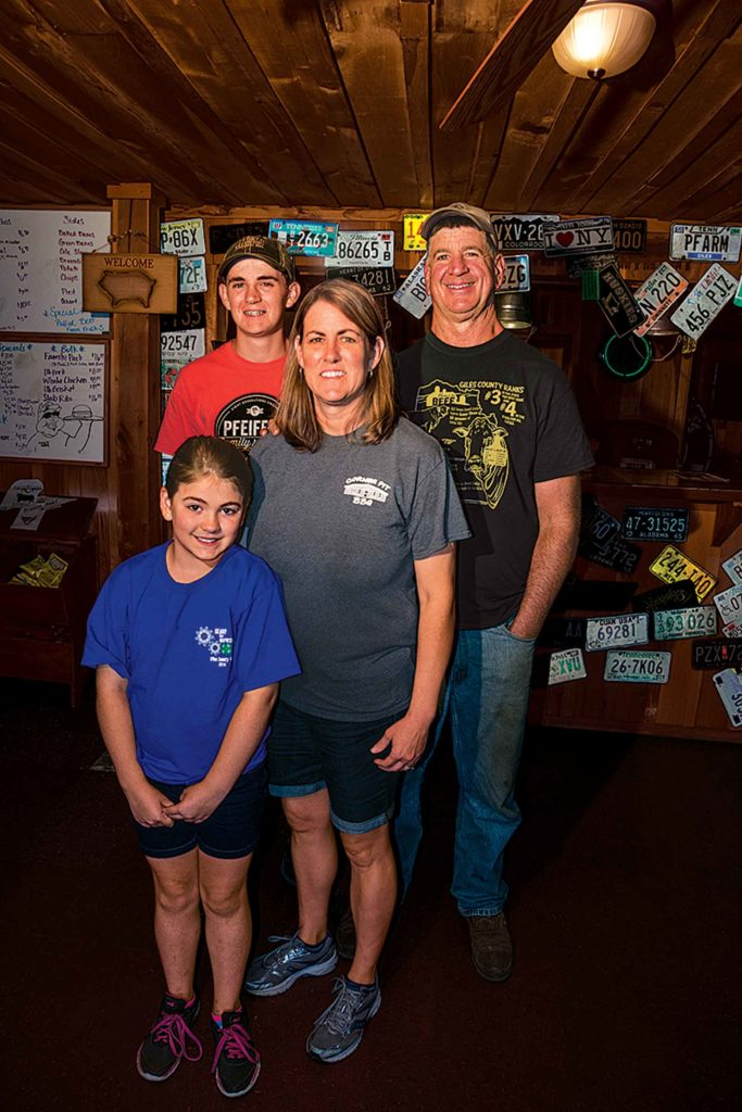 The farming Pfeiffer family in their folksy restaurant. They serve pork and chicken in addition to beef, and want to feature even more locally-grown food.