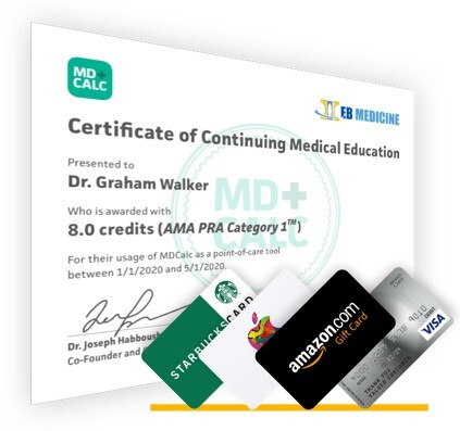 CME certificate with Amazon.com gift card and other options.