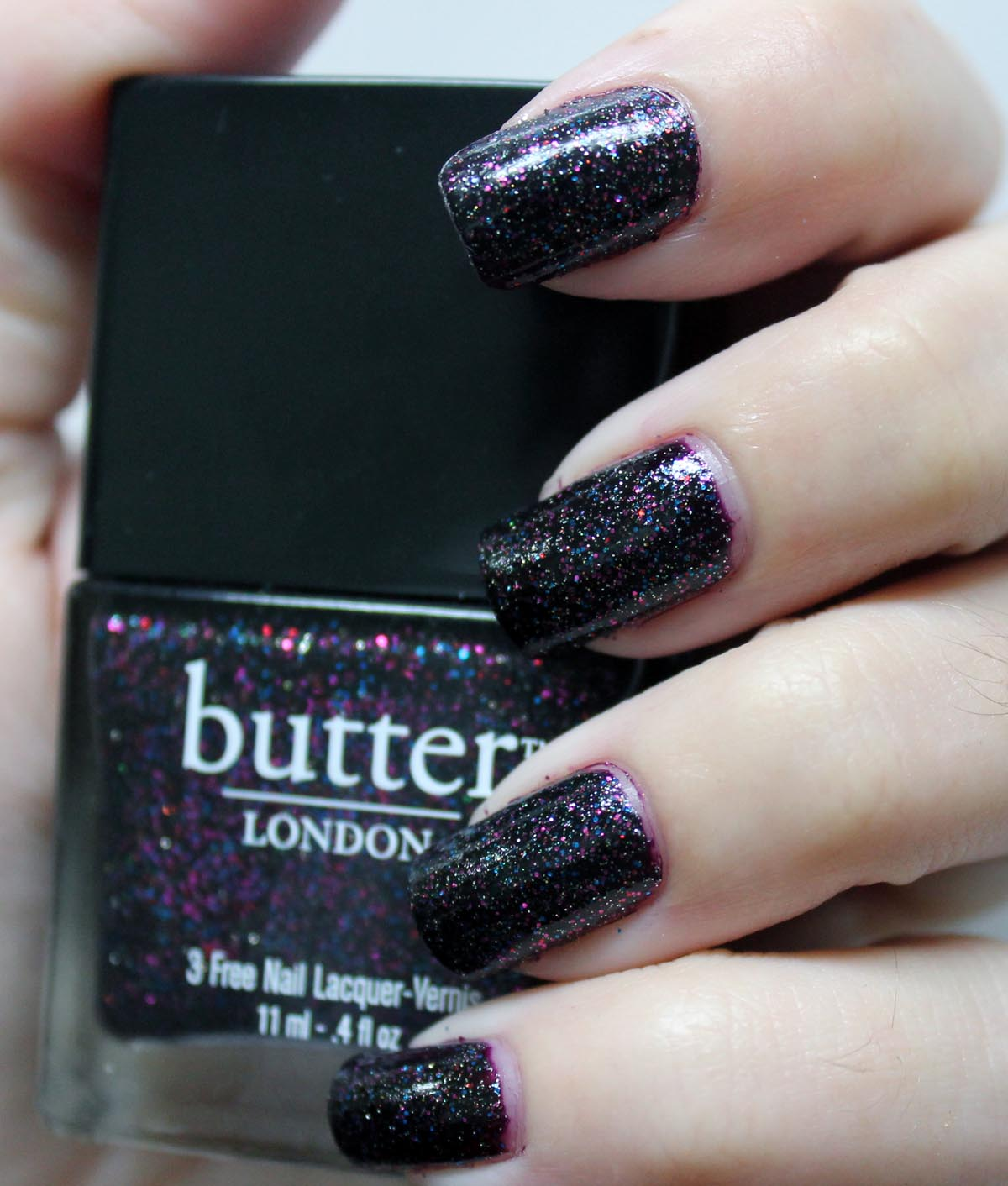Butter London The Black Knight over Zoya Casey, photos swatches and reviews