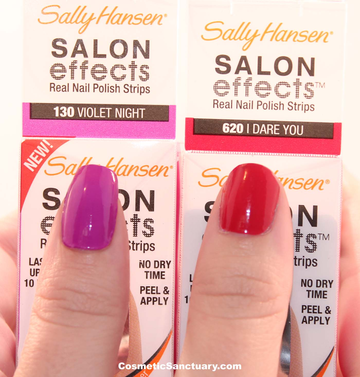 Sally Hansen Salon Effects Real Nail Polish Strips Violet Night and I Dare  You Review and Swatches
