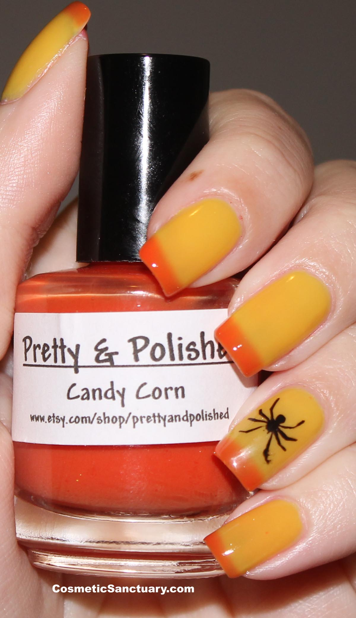 My Halloween Manicure with Pretty & Polished Candy Corn and Spider Stencil!