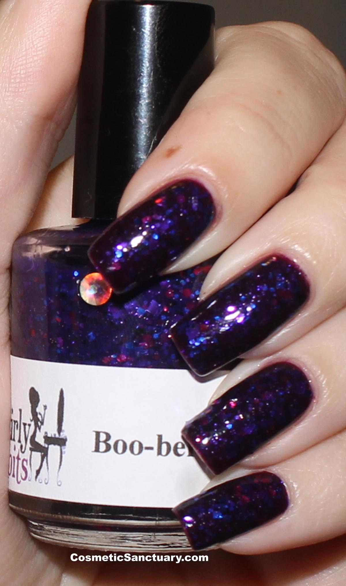 NOTD:  Girly Bits Boo-Berry Over Finger Paints Plum Startled