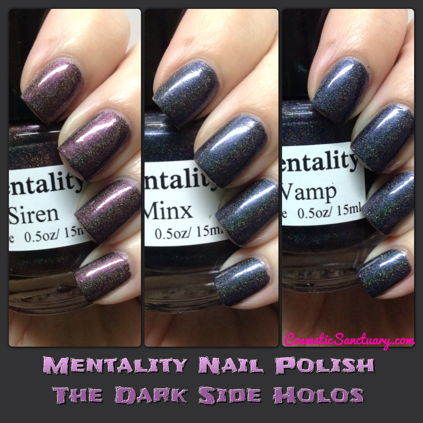 Mentality Nail Polish The Dark Side Holos Collection Swatches and Review