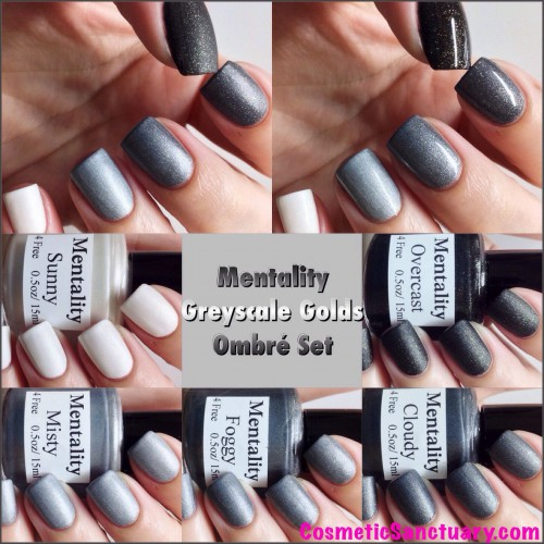Mentality Nail Polish Greyscale Golds Ombre Set Swatches and Review