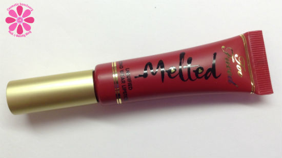 Too Faced Melted Liquified Long Wear Lipstick in Melted Ruby Swatch and Review