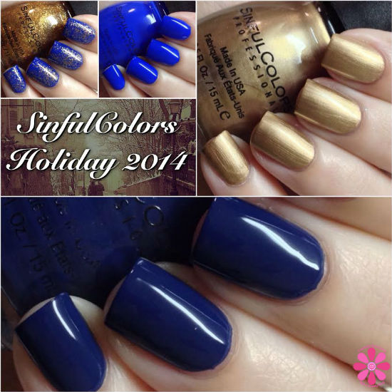 SinfulColors Holi-dazzled Holiday 2014 All About You, Endless Blue, New Wave & Gold Medal Swatches & Review