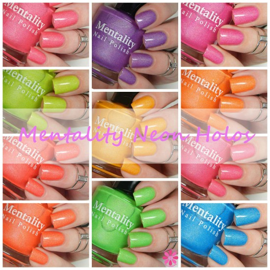 Mentality Nail Polish Neon Holos Collection Swatches Review