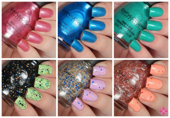 Six SinfulColors Summer 2015 Shades Plus Appliques Swatches & Review