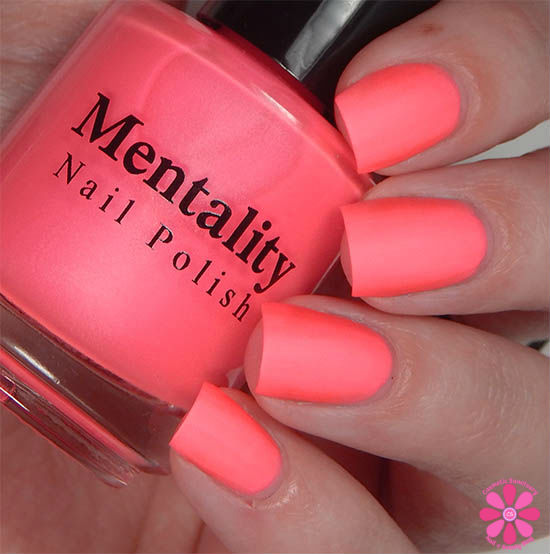 Mentality Nail Polish Neon Mattes Collection Destroy Swatch