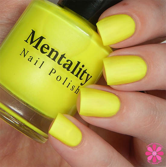Mentality Nail Polish Neon Mattes Collection Expunge Swatch