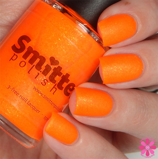 Smitten Polish Summer 2015 Neon Flakes Collection Jar Of Sunshine Swatch matte