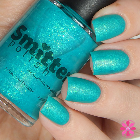 Smitten Polish Summer 2015 Neon Flakes Collection Lazy River Swatch matte